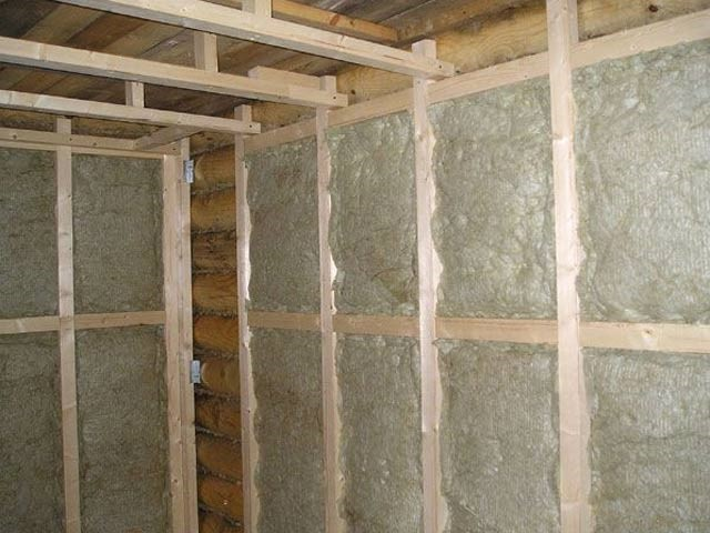 утепление стен бани из бруса