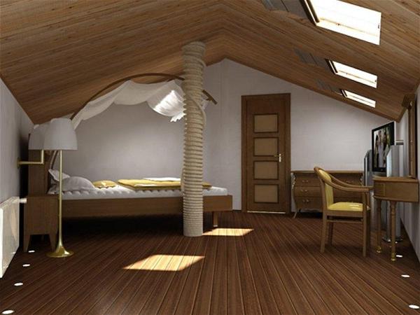 Отделка мансардного этажа деревянного дома