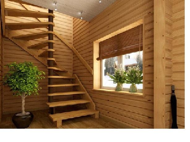Отделка деревянной лестницы в доме