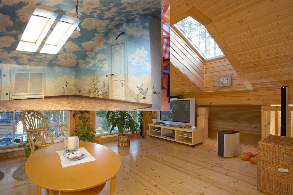 Облицовка мансарды в деревянном доме